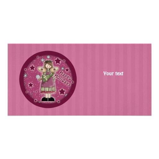 Christmas angel with Christmas tree Customised Photo Card