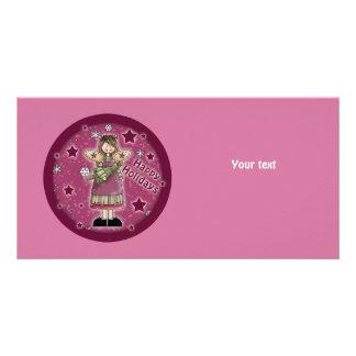 Christmas angel with Christmas tree Photo Card
