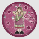 Christmas angel with Christmas tree Classic Round Sticker