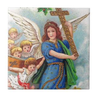 Christmas_angel_with_cross_1914.jpg Small Square Tile