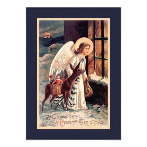 Christmas Angel With Deer Invitation