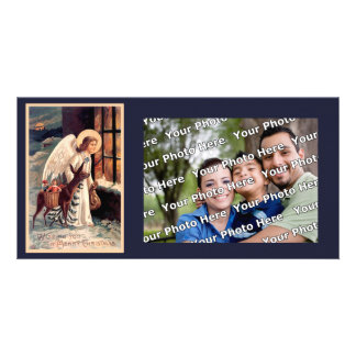 Christmas Angel With Deer Photocard Card