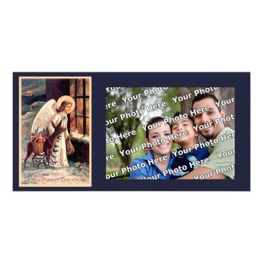 Christmas Angel With Deer Photocard Photo Cards