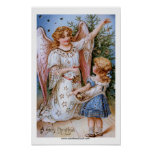 Christmas Angel with Victorian Girl Poster