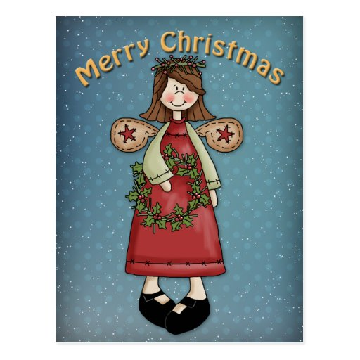 Christmas Angel with wreath Postcard