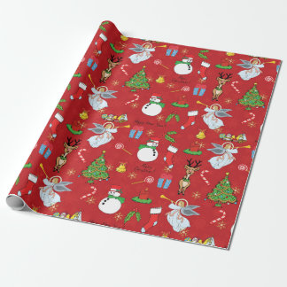 Christmas Angels and snowman wrapping paper