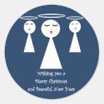 Christmas Angels Classic Round Sticker