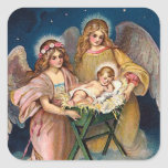 """Christmas Angels"" Nativity Scene Square Stickers"