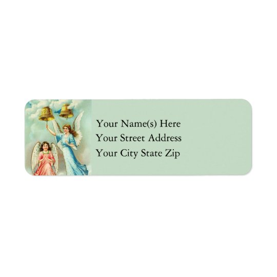 Christmas Angels Ringing Christmas Bells Vintage Return Address Label