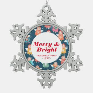 Christmas Angels Snowflake Pewter Christmas Ornament