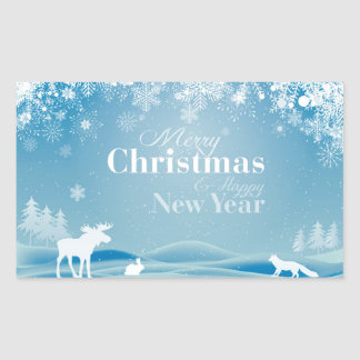Christmas animals rectangular sticker
