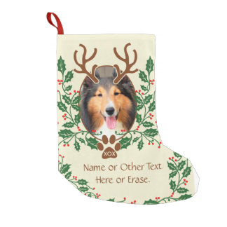 Christmas Antlers For Dog / Cat Personalise Photo Small Christmas Stocking