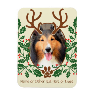 Christmas Antlers For Dog / Cat Personalize Photo Rectangular Magnets
