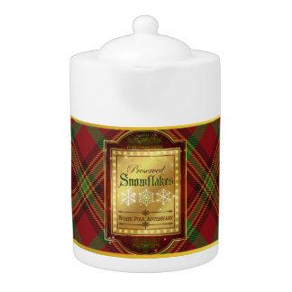 Christmas Apothecary Snowflakes Label Teapot