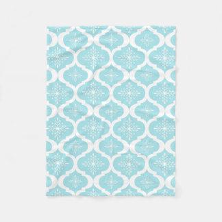 Christmas Aqua Blue Snowflakes Lattice Pattern Fleece Blanket