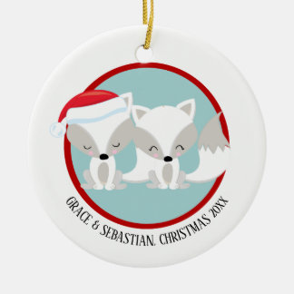 Christmas Arctic Foxes Personalized Christmas Ornament