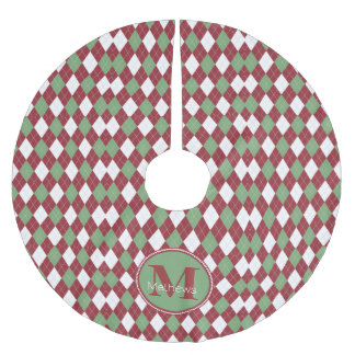 Christmas Argyle Monogram Tree Skirt Brushed Polyester Tree Skirt
