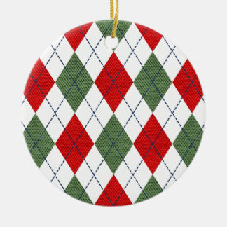 Christmas Argyle Ornament Round