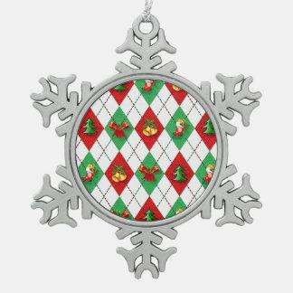 Christmas Argyle Snowflake Pewter Christmas Ornament