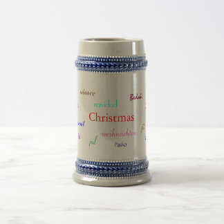 Christmas Around The World In Grey And Blue 18 Oz Beer Stein