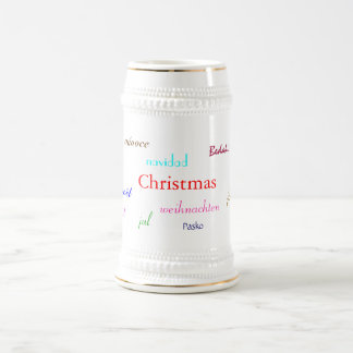 Christmas Around The World In White And Gold 18 Oz Beer Stein