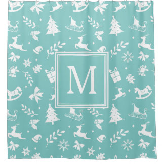 Christmas Art Decor Snowflake Tree Deer Monogram Shower Curtain