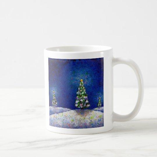 Christmas art fun colourful trees original coffee mug