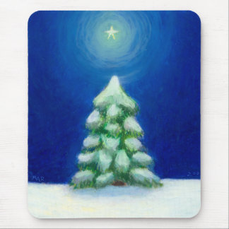 Christmas art holiday card tree snow December 25th Mouse Pad
