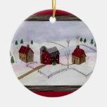 Christmas at Farm - Round Ornament