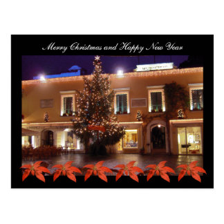 Christmas at La Piazzetta of Capri with poinsettia Postcard
