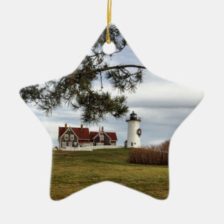 Christmas at Nobska Lighthouse Cape Cod Gifts Ceramic Star Decoration