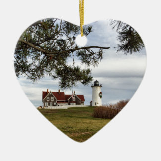 Christmas at Nobska Lighthouse Cape Cod Gifts Christmas Ornament