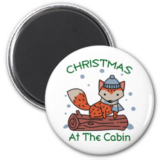 Christmas At The Cabin 6 Cm Round Magnet