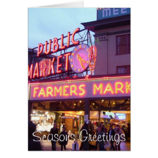 Christmas at the Pike Place Market Seattle Card