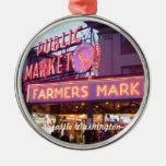 Christmas at the Pike Place Market Seattle Round Metal Christmas Ornament