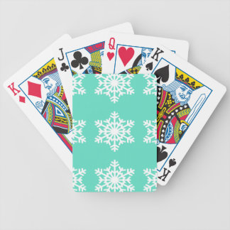 Christmas at Tiffanys Aqua Blue Snowflakes Bicycle Playing Cards