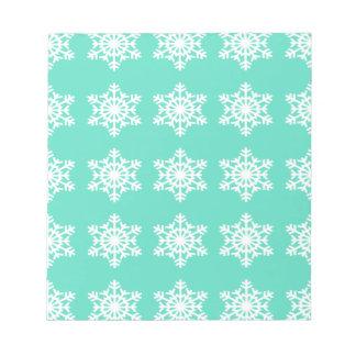 Christmas at Tiffanys Aqua Blue Snowflakes Notepad