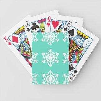 Christmas at Tiffanys Aqua Blue Snowflakes Poker Deck