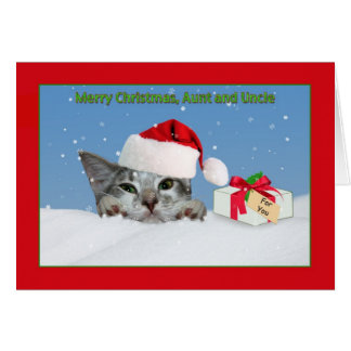 Christmas, Aunt and Uncle, Cat in the Snow Greeting Card