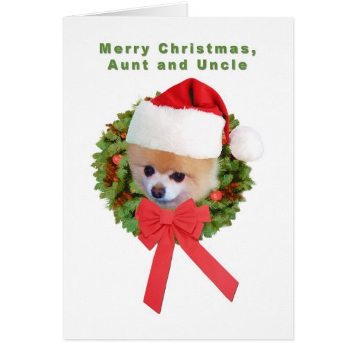 Christmas, Aunt and Uncle,  Pomeranian Dog, Santa Greeting Cards