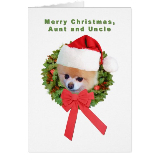 Christmas, Aunt and Uncle, Pomeranian Dog, Santa Card