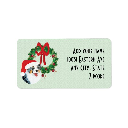 Christmas Aussie & Wreath Custom Address Label