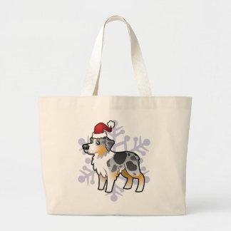 Christmas Australian Shepherd Large Tote Bag