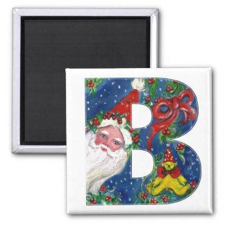 CHRISTMAS B LETTER / SANTA  RED RIBBON MONOGRAM SQUARE MAGNET
