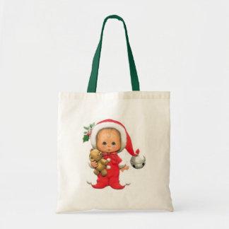 Christmas Baby Elf And Teddy Tote Bag