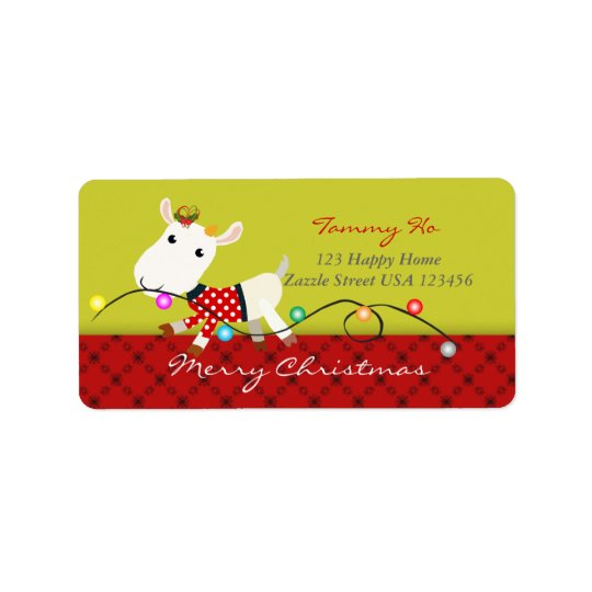 Christmas Baby Goat KId Animal Label