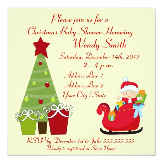 Christmas Baby Shower Invitation Cards