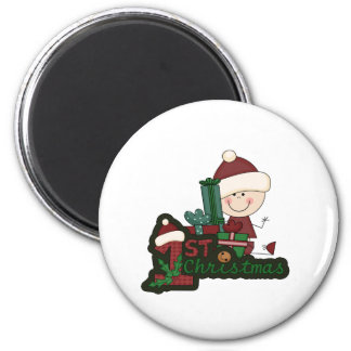 Christmas Baby Stick Figure First Christmas 6 Cm Round Magnet