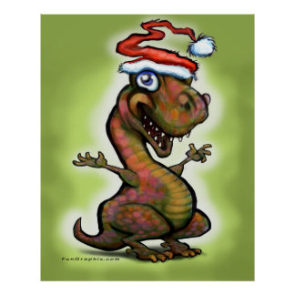 Christmas Baby T-Rex Dinosaur Poster