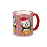 Christmas Baby Tux Santa Hat Ringer Coffee Mug